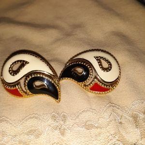 Vintage multicolored Post-back Earrings